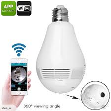 motion detector light with wifi camera led light bulb security camera 360 degree fisheye motion
