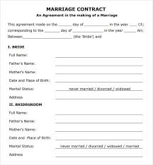 wedding contract template marriage contract sample marriage