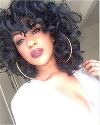 short hairstyle wigs for black women b g short curly wavy kinky afro hair wigs black color synthetic