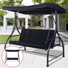 black converting bed swing hammock chair patio 3 person seat with