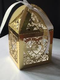 metallic gift box 100pcs metallic paper gold laser cut heart wedding favor boxes