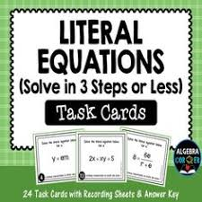 writing literal equations coloring activity equation algebra