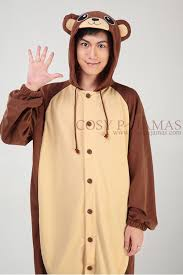 Brown Bear Halloween Costume Polyester Mesh Brown Bear Onesie Kigurumi Pajamas