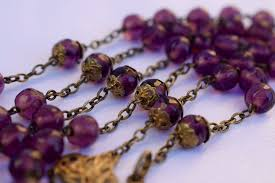 purple rosary nouveau gold on sterling silver purple rosary charmantiques