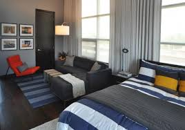 simple studio apartment bachelor pad with strip decoration and