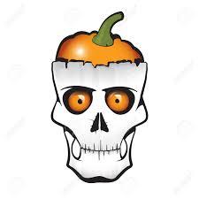 halloween themed skull with pumpkin instead of brain royalty free