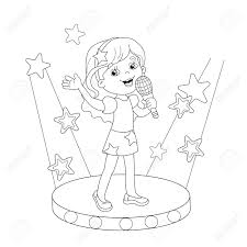 coloring page outline of cartoon singing a song on stage