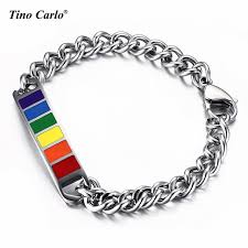 bracelet rainbow images Lgbt lover gay rainbow bracelet 316l stainless steel cuban chains jpg
