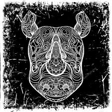 rhino with ornament on grunge background retro