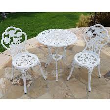 Aluminum Bistro Table And Chairs Bellezza Patio Furniture Cast Aluminum Tulip Design Bistro Set In
