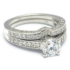 wedding band set 1 carat solitaire cz diamond ring wedding band set