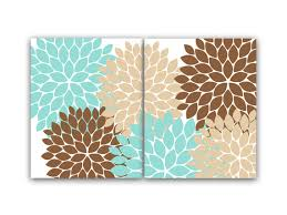 Home Decor Wall Art Teal And Brown Flower Burst Art Bathroom - Wall paintings for home decoration