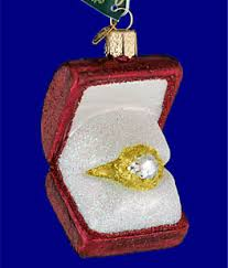 engagement ring in box glass ornament by world