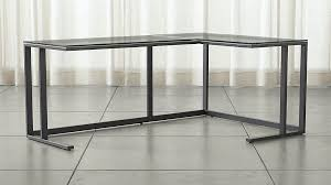 Glass Corner Desks Pilsen Graphite Glass Corner Desk In Desks Reviews Crate And
