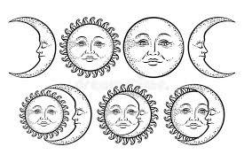 boho chic flash design sun and crescent moon