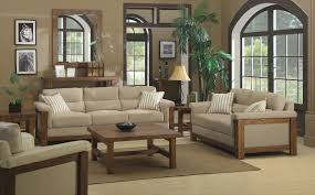 modern wooden sofa designs with beige cushions and wood coffee