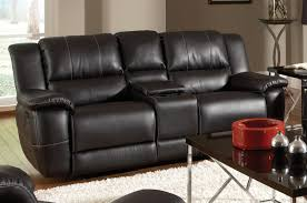 Black Leather Reclining Sofa And Loveseat Recliner Sofa With Console Home Furniture Decoration