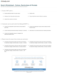 Worksheets Punctuation Quiz U0026 Worksheet Colons Semicolons U0026 Periods Study Com