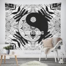 bohemian tapestry ying yang black white mandala wall art print bohemian tapestry ying yang black white mandala wall art print boho wall decor