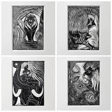 wood prints collection of five deco woodprints by jan schonk for sale at