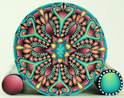 large kaleidoscope polymer clay with 2 matching mini canes