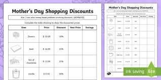s day shopping s day shopping discounts activity sheet s day