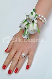 Wedding Wrist Corsage Shop Stunning Ivory Grey Tipped Rose Buds Wedding Wrist Corsage