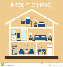 inside the house flat style vector illustration house silhouette