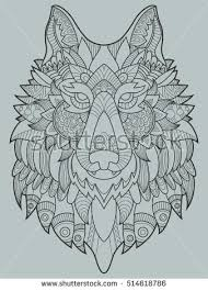 wolf coloring book adults raster illustration stock illustration