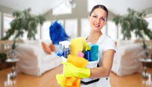 young smiling maid house cleaning service concept stock photo