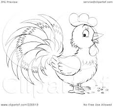 cartoon of a black and white rooster in profile royalty free