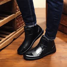 saguaro pvc rain boots for men fashion waterproof flat rubber