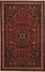 Red Area Rug by Persian Ghashghaei Red Rectangle 5x7 Ft Wool Carpet 11189