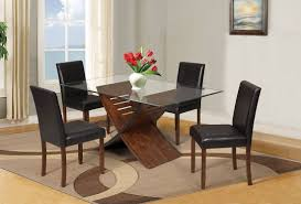 5 piece dining room sets trava cherry finish glass top 5 piece dining table set