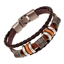 leather bracelet with silver beads images Ethnic rivet bracelets for male vintage beads charms wrap leather jpg