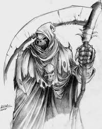 a grim reaper skeleton with a scythe tattoo desgin in 2017 real