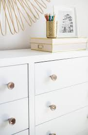 espresso stained dresser with pink quartz drawer knobs