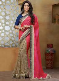 reception sarees for indian weddings beautiful pink beige embroidery work net fancy designer sarees