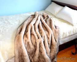 Faux Fox Fur Throw Luxurious Faux Fur Throw Brown Tip Polar Bear Plush Soft Comfy