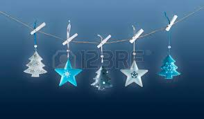 White Metal Christmas Decorations by Hanging Wooden Christmas Decorations White Background Stock Photo