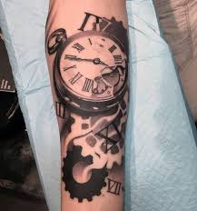 classy vintage pocket watch tattoo design on arm tattooshunter com
