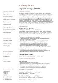 Warehouse Manager Resume Templates 28 Logistics Description Resume Exle Of A Supply Chain