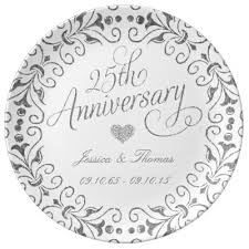 25th wedding anniversary plates personalized 25th anniversary porcelain plate zazzle