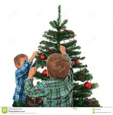 christmas christmas kids decorating tree stock photo image