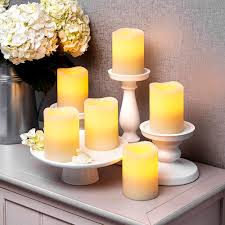 set of 3 flameless led candle nonflammable wax battery operated