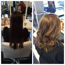 before and after cut and full head of highlights on previously