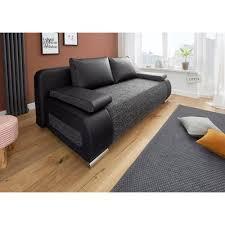 3 suisses canapé convertible pouf structure microfibre noir marine autres mobilier