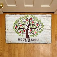 David Low The Doormat Personal Creations Personalized Family Tree Of Hearts Doormat 17