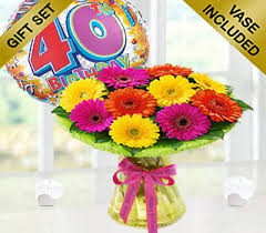 40th birthday delivery 40th birthday germini gift vase with a happy 40th
