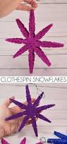 diy glitter clothespin snowflakes mom spark mom blogger